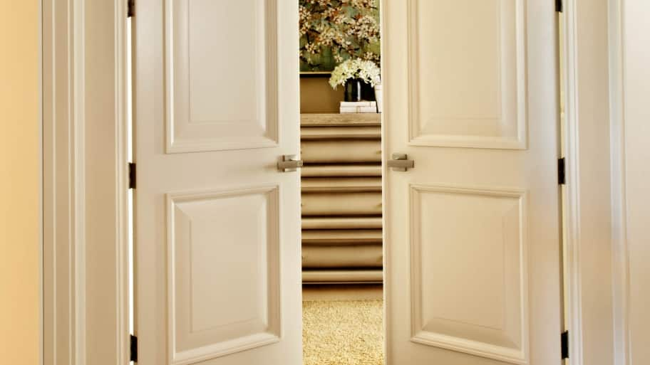 TruStile Doors French doors with MDF panels in hallway