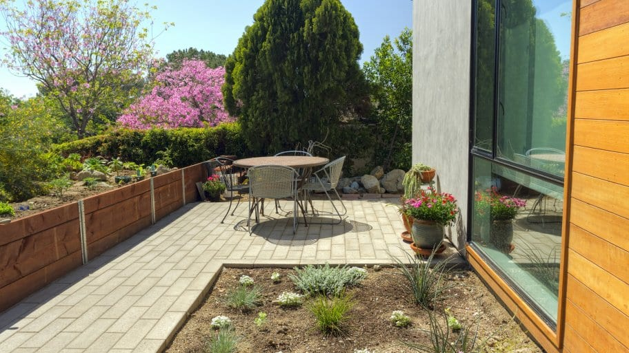 patio paver hardscaping with landscaping
