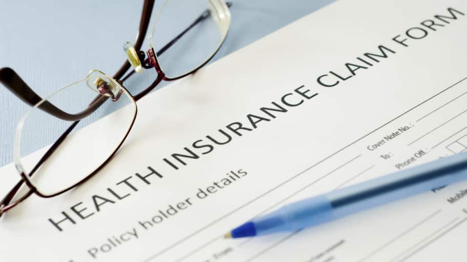 Health insurance claim paperwork