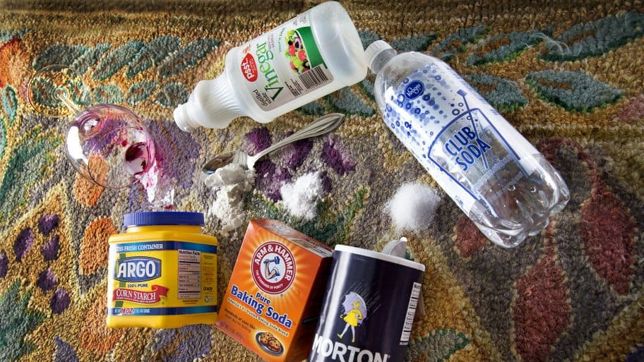 natural cleaning supplies: corn starch, baking soda, salt, club soda, white vinegar