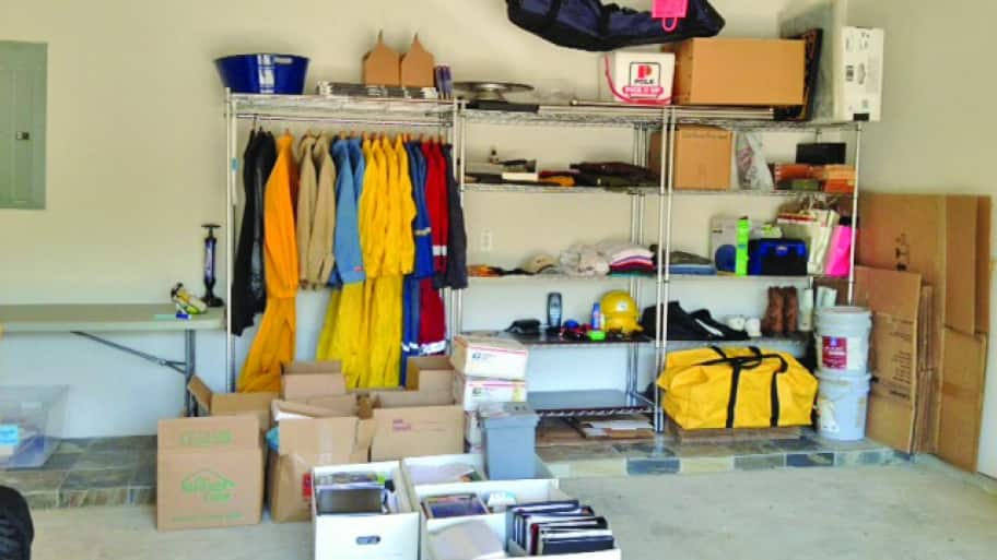 Shelves and boxes of neatly organized items in garage. (Photo by Photo courtesy of Ruth Ellen Huebner )