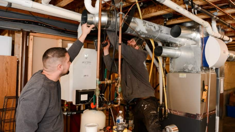 HVAC installers on the job