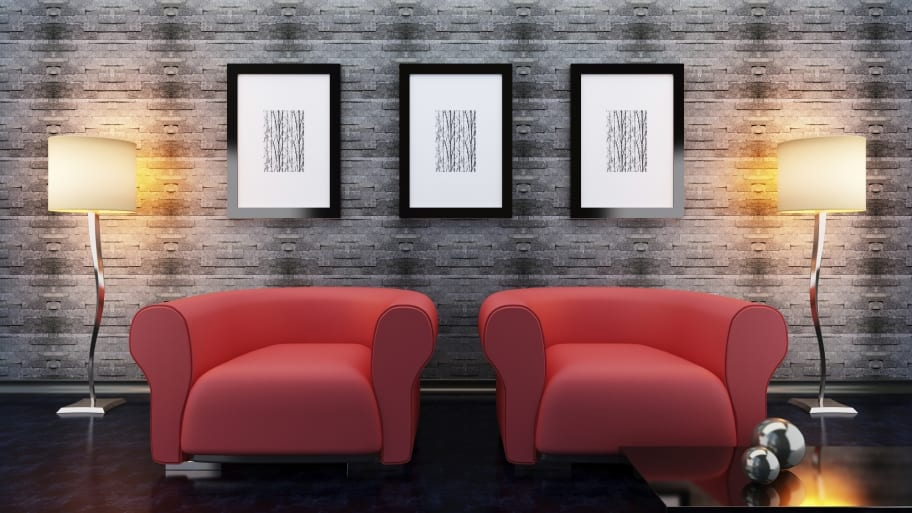 wall hanging above chairs