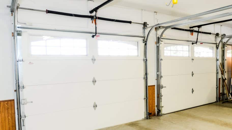 Interior side of two white garage doors (Photo by Summer Galyan)