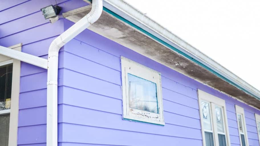 purple house with white gutters
