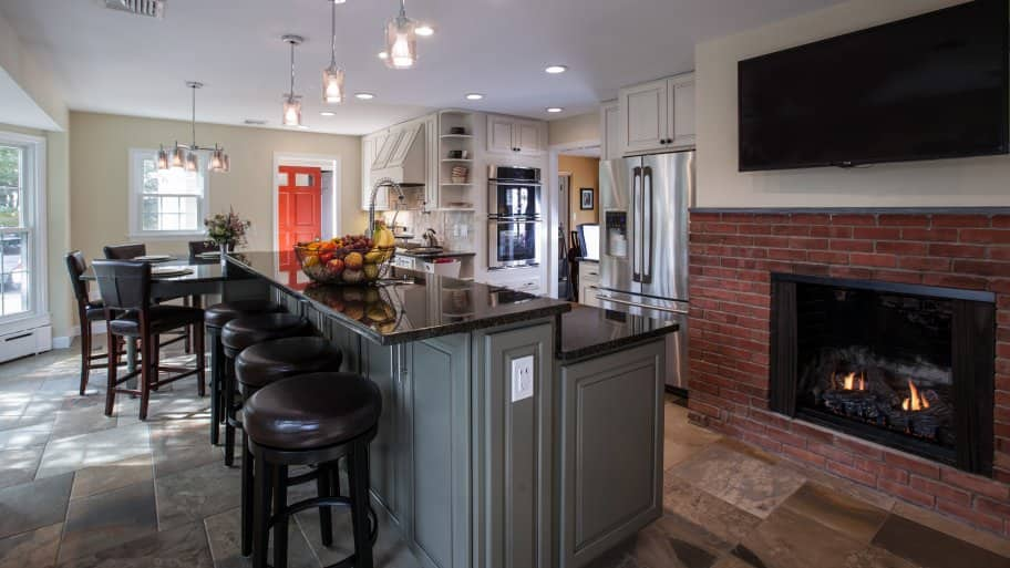 Kitchen remodel with fireplace