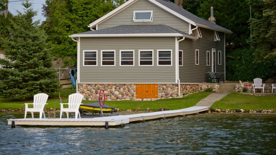 lake house with dock