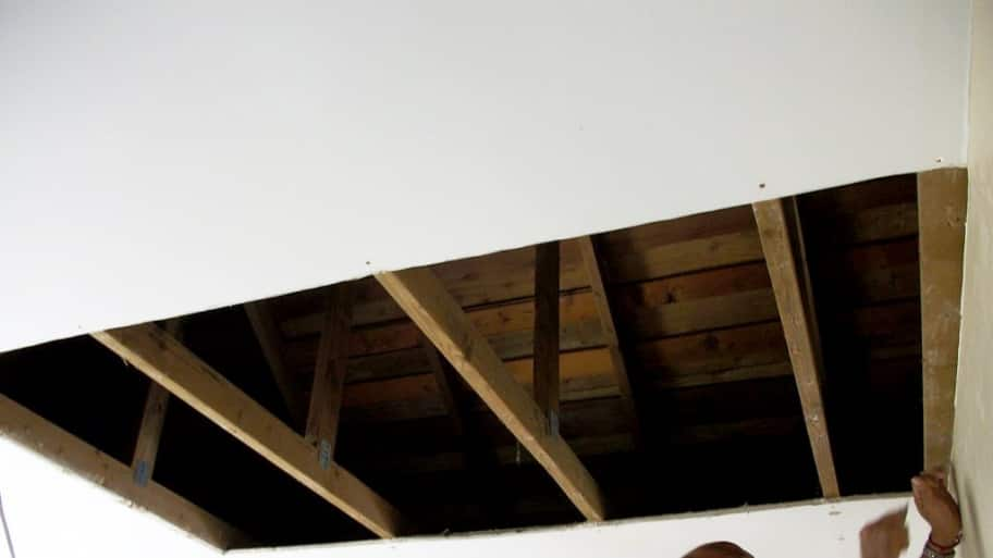 Repairing water-damaged ceiling