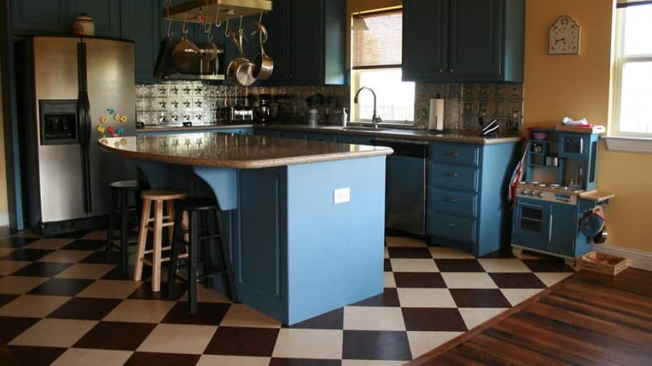 linoleum flooring in a kitchen