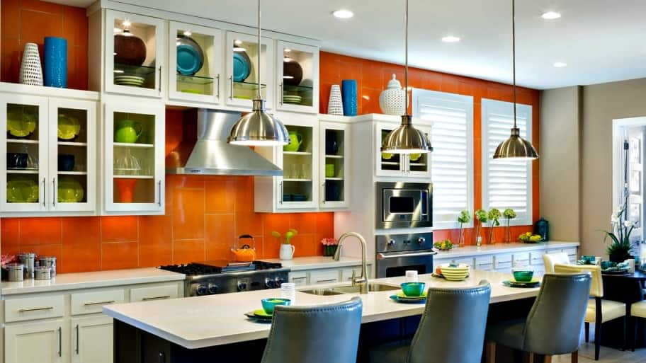 orange kitchen backsplash