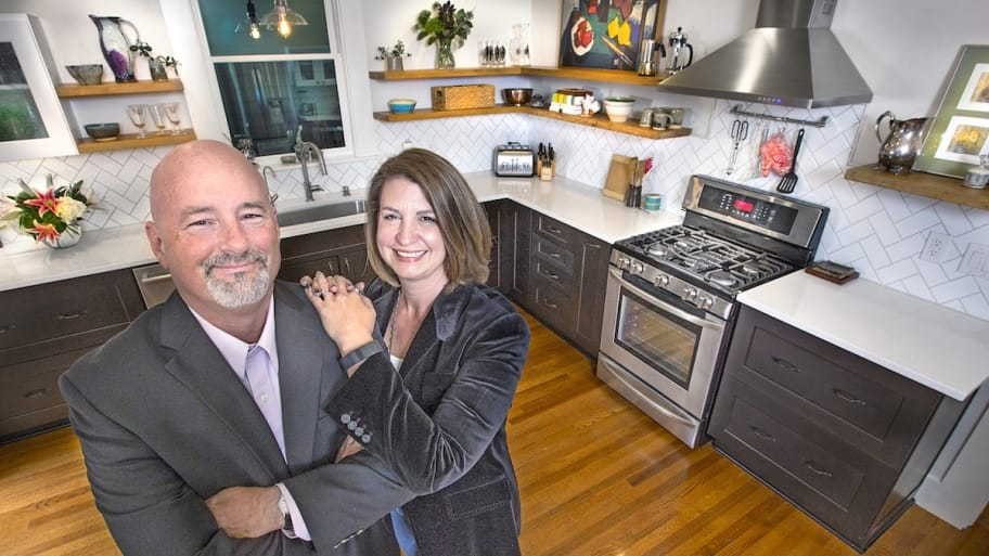 dennis carr and renee harness in kitchen