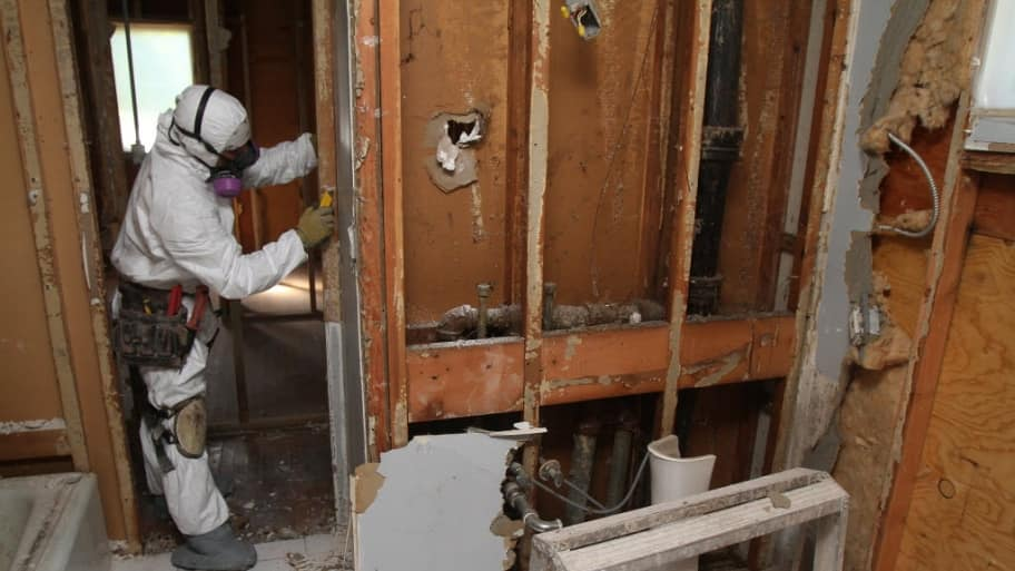 A Man In Mold Remediation Uniform Removes Drywall From Bathroom To Clear Out