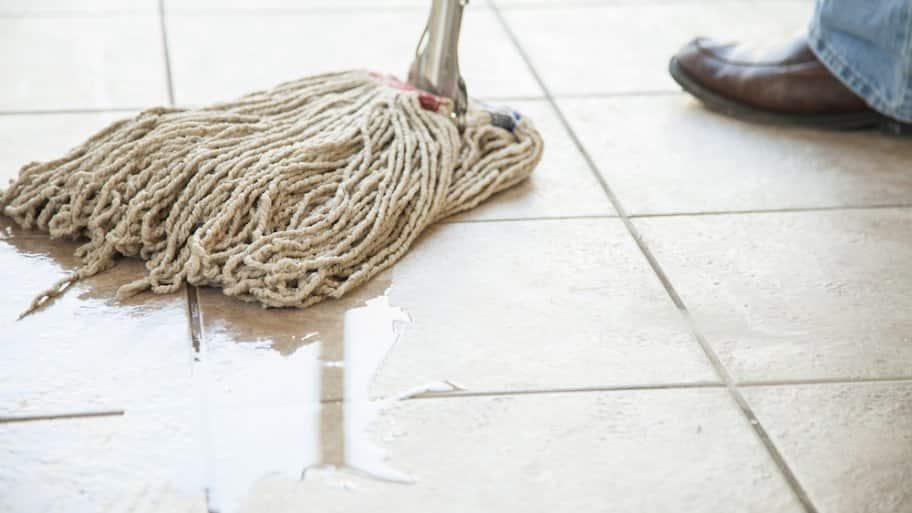 Mopping Tile Floor