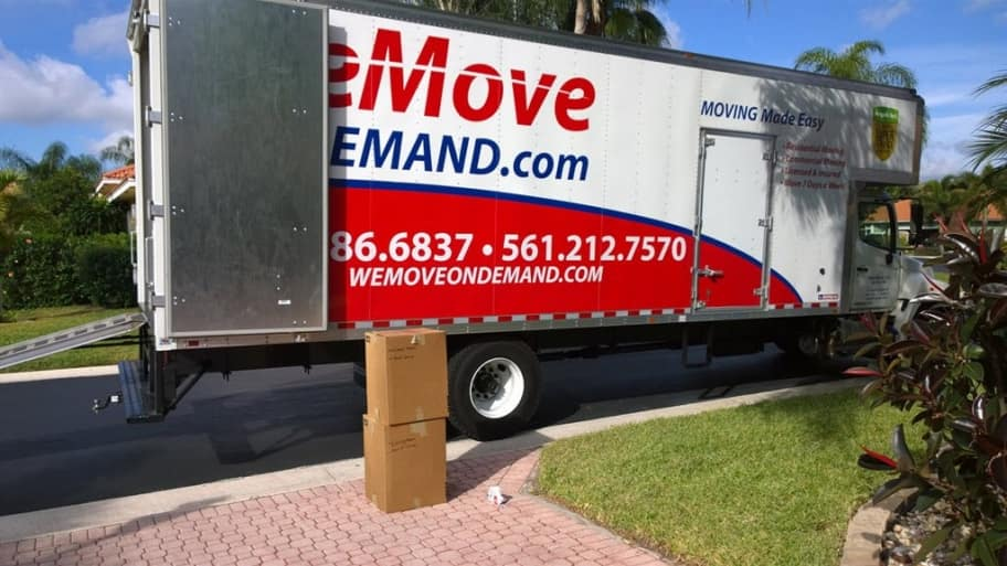 Boxes in front of a moving truck