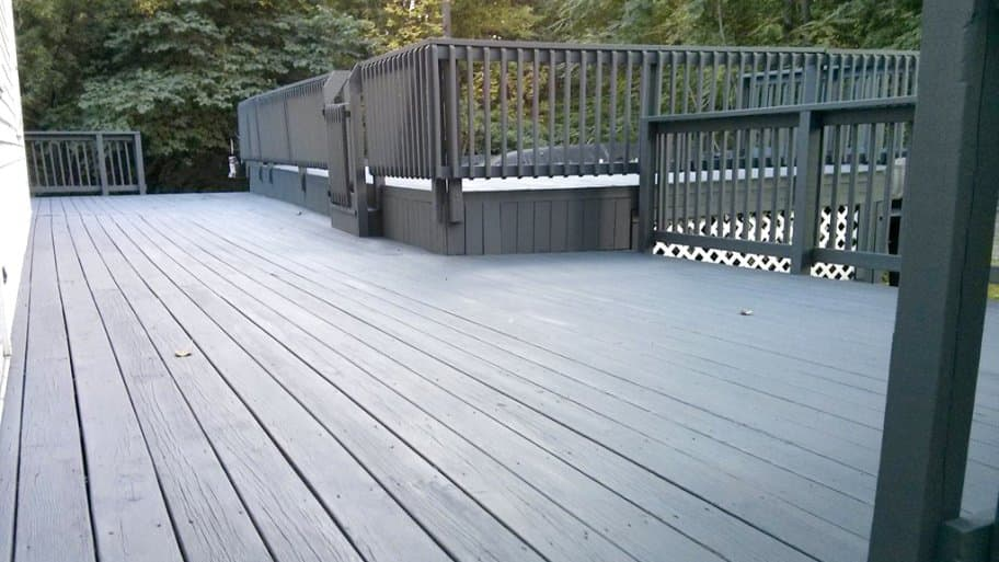 Multilevel Deck Stained Charcoal Gray Deck