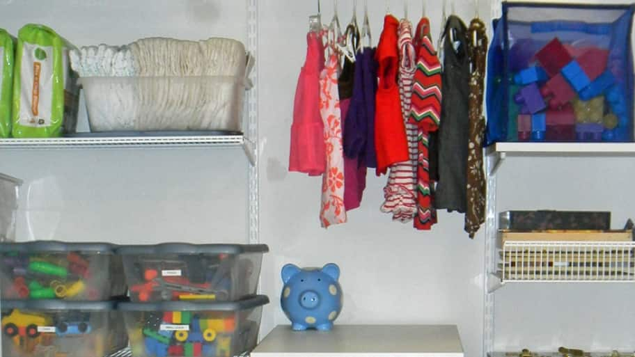 Since most baby clothes will be folded, you will only need a small area to store hanging clothes. (Photo courtesy of Less is More Organization Services)