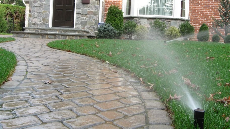 Lawn Irrigation System Outside House