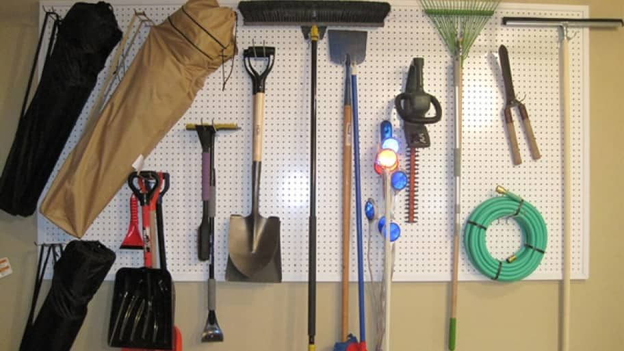 pegboard and hanging tools
