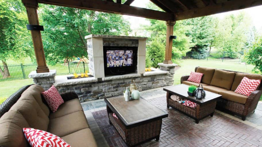 Outdoor living room with an outdoor TV