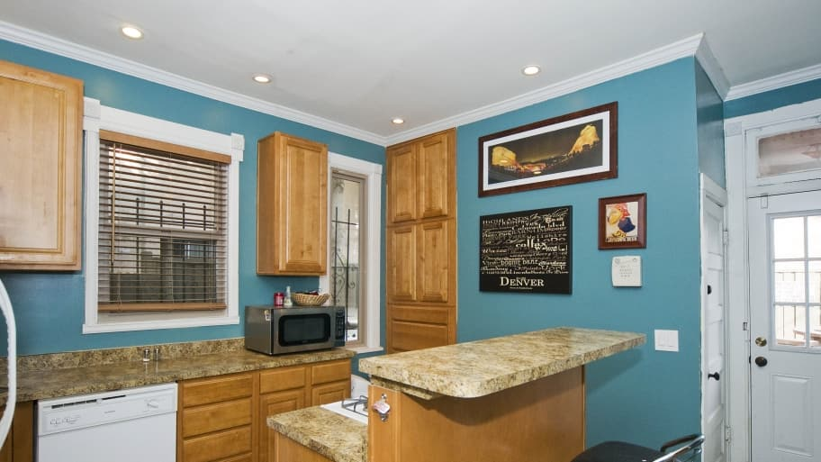 kitchen with turquoise paint
