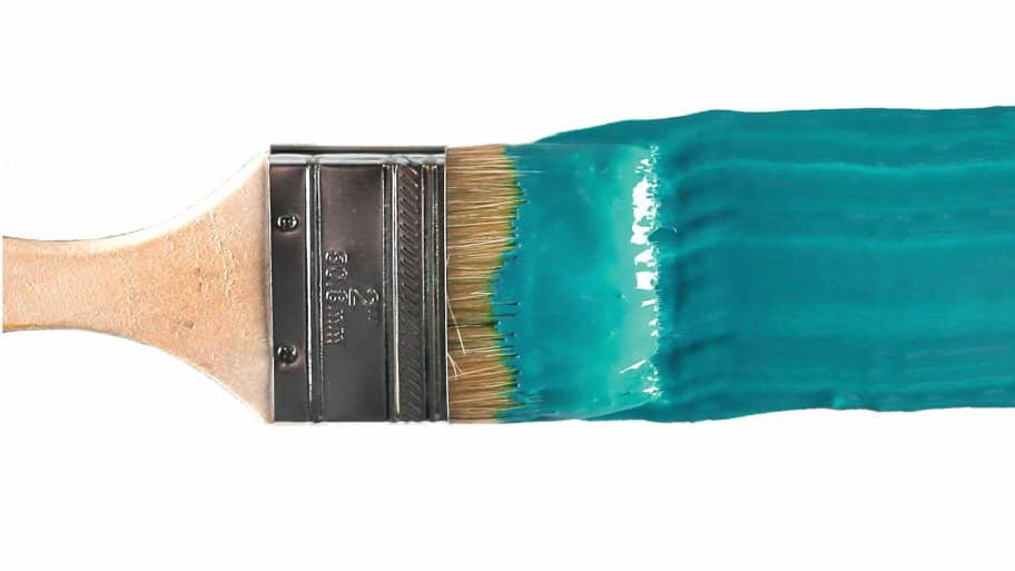 paintbrush with blue paint