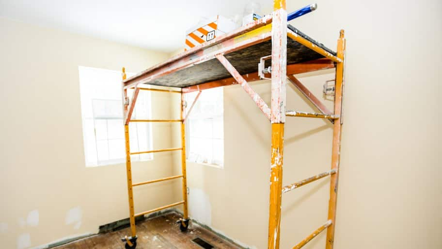 painting scaffolding inside room