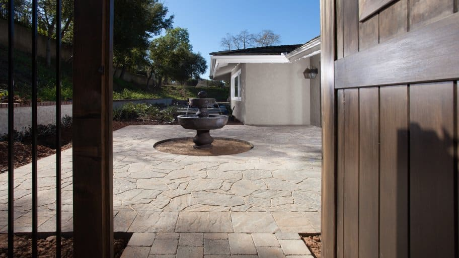 paver walkway with fountain
