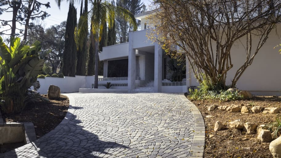 pavers and trees