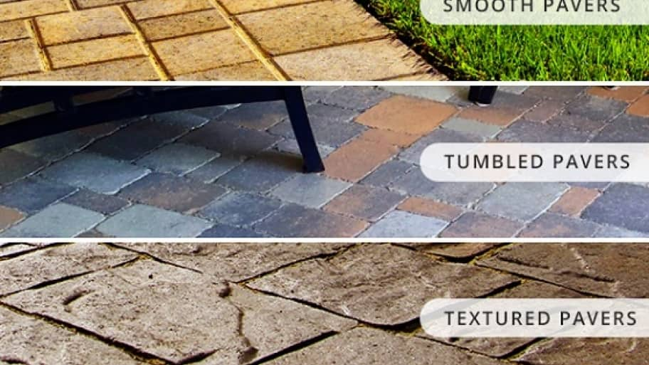 Pictures Of Three Types Of Pavers: Textured Pavers, Smooth Pavers, And  Tumbled Pavers
