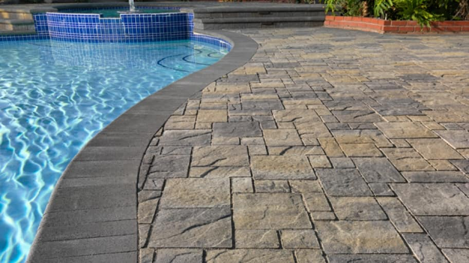 Paving stones on a pool deck