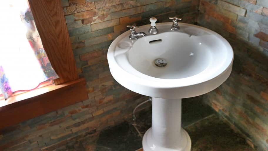 Bathroom pedestal sinks capture a classic, timeless air. This restored ...