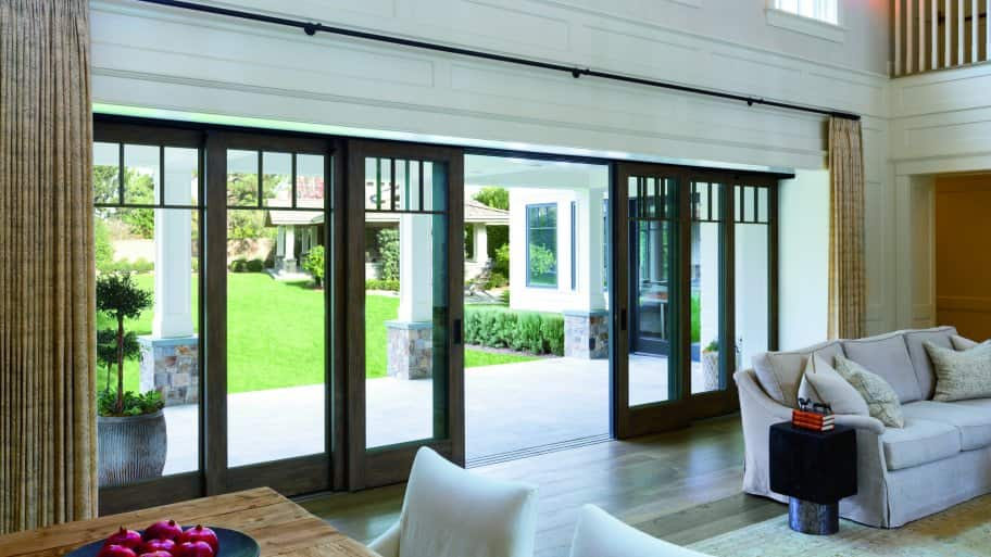 Large sliding glass doors bring outdoors in angie 39 s list for Exterior multi track sliding doors