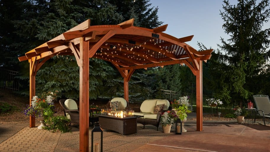 Patio with pergola and fire pit & How Much Does It Cost to Build a Pergola? | Angieu0027s List
