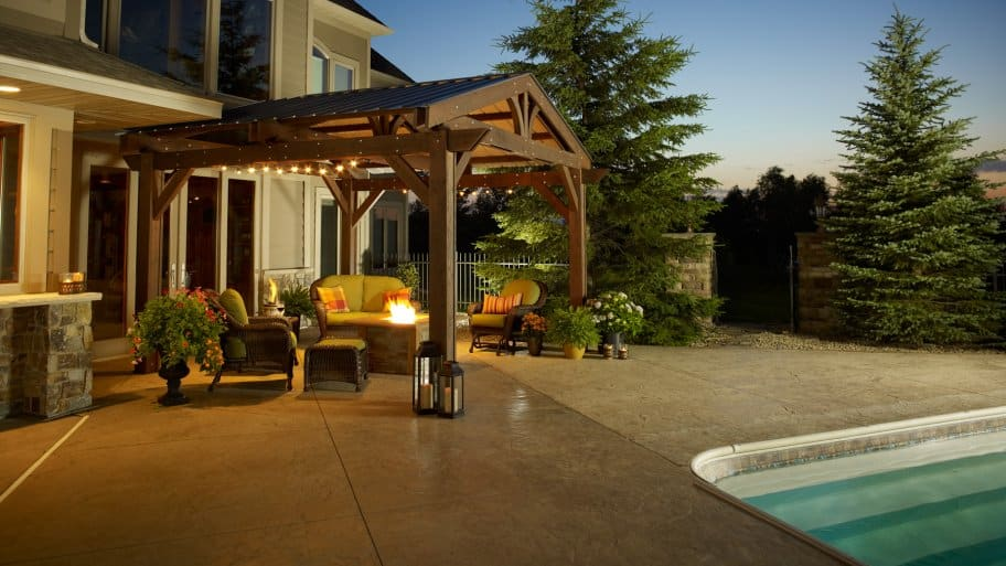 swimming pool with pergola and fire pit - How Much Does It Cost To Build A Pergola? Angie's List