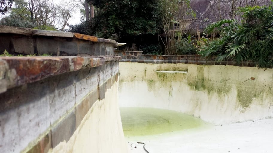 a drained pool with cloudy water and algae buildup stains on the pool wall.