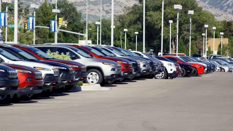 cars on a car lot
