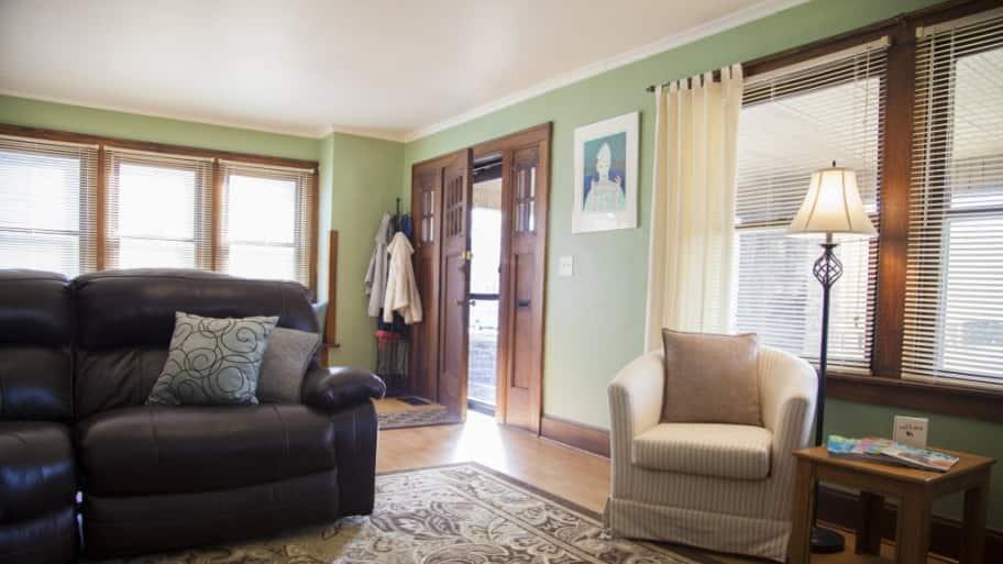 Living room with door left open