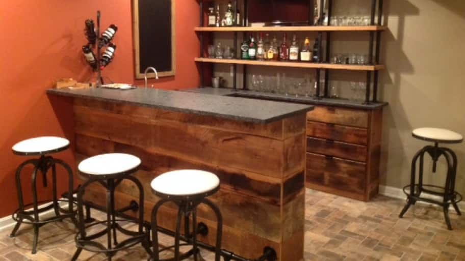 bar made from reclaimed barn wood