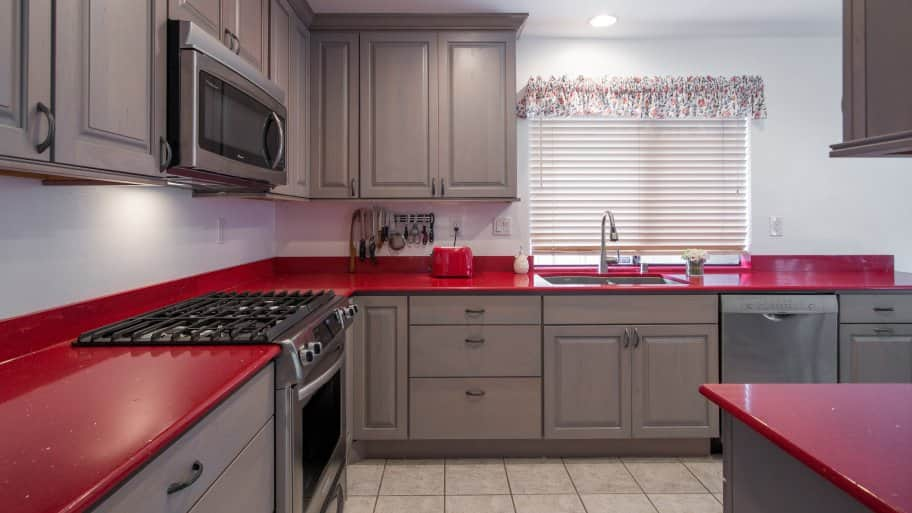 red quartz kitchen countertop
