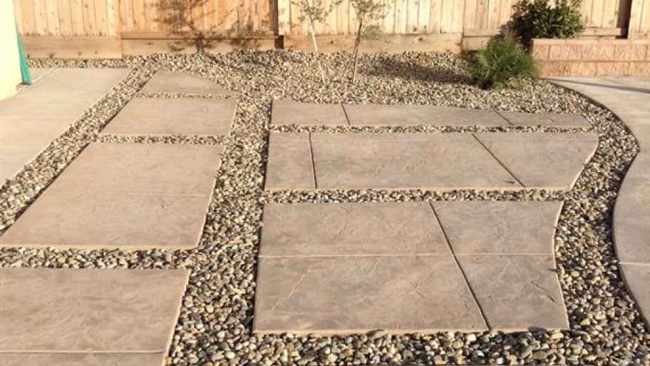 river rock stamped concrete