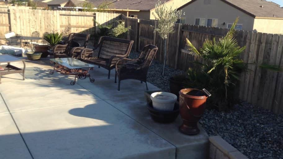 raised garden concrete patio