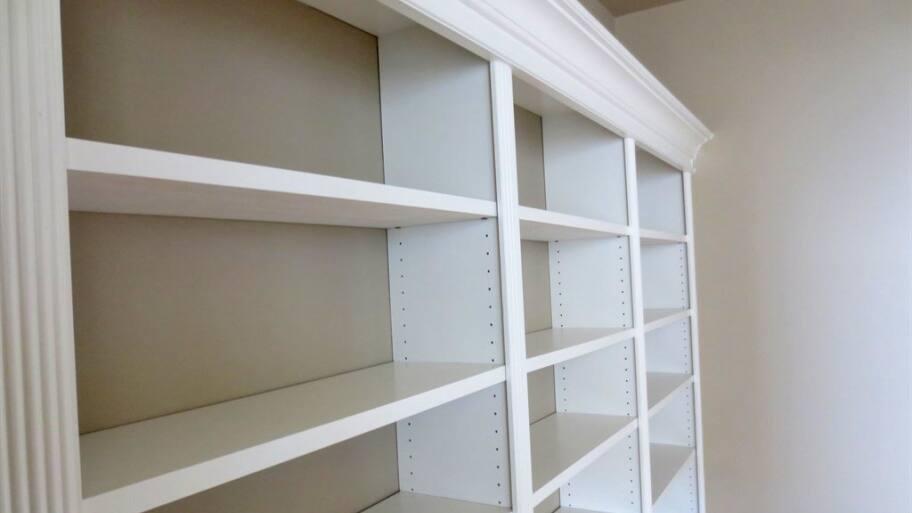 White Built In Bookshelves
