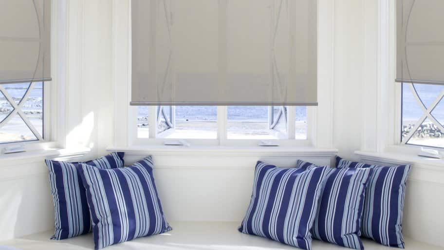 roller shades on bay windows