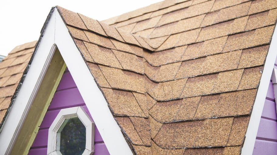 asphalt shingle roof peak