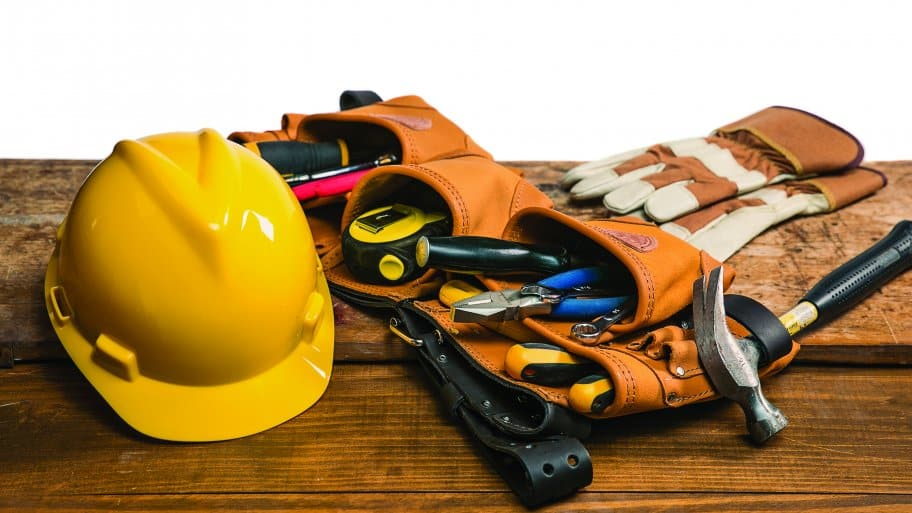 handyman tools, toolbelt and hardhat