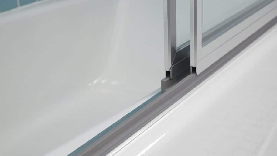 sliding shower doors on track close up