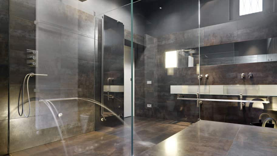 Marvelous Stone Shower With Multiple Shower Heads And Chrome Hardware
