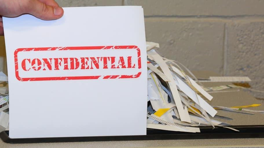 paper shredding confidential documents