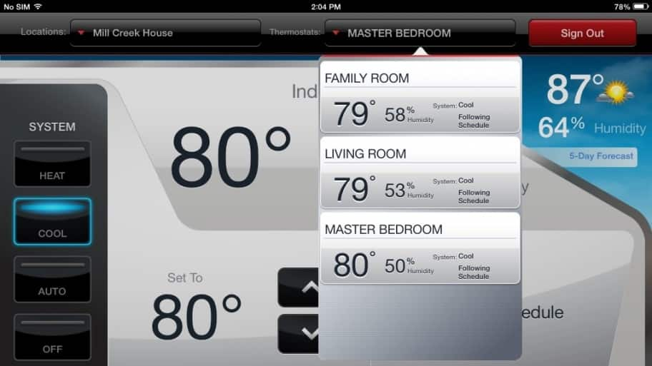 Smart thermostat controls