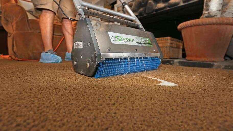 carpet technician using agitation tool to loosen dirt on carpet